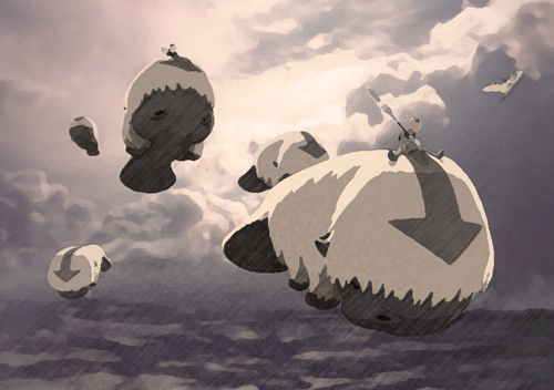 An image of a group of sky bison in flight; they are hornless and have manatee faces