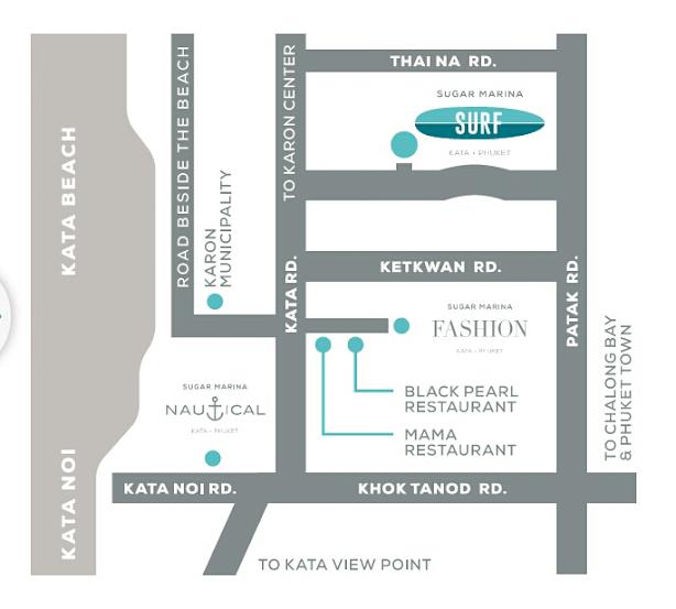 Map Sugar Marina Resort-Surf-Kata Beach