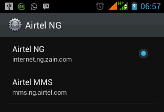 airtel Data settings for android