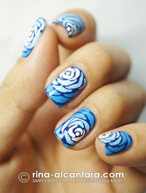 Blue Wave Nail Art Design - Left Close-Up