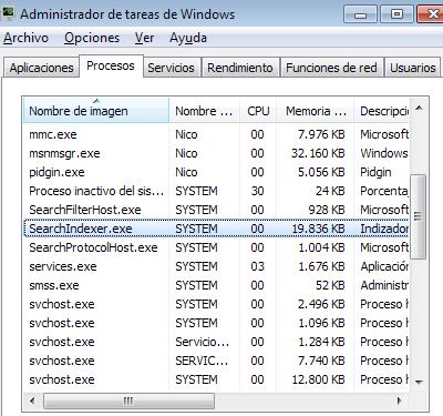 Proceso SearchIndexer en windows 7