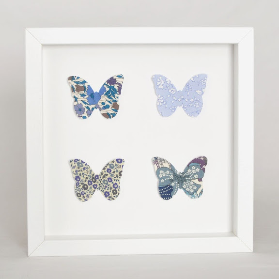 Grand cadre papillons Papillons bleus Mille Coquelicots