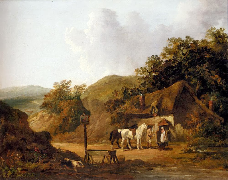 George Morland - Taking Refreshments Outside A Village Inn