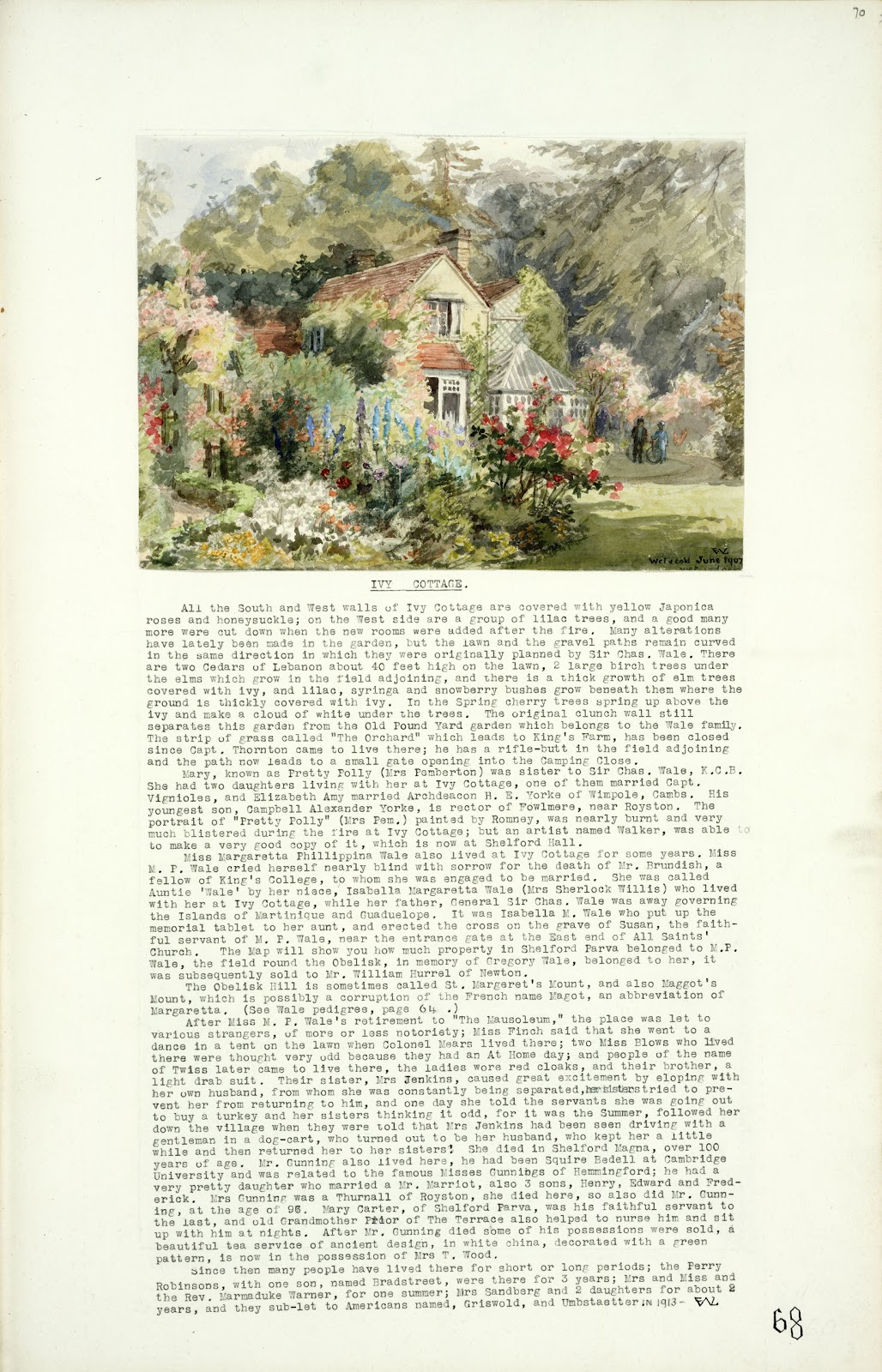 A Record of Shelford Parva by Fanny Wale P68 fo. 70, page 68: At the top of the page is a coloured watercolour of Ivy Cottage and garden, 1907, with long description of it and its inhabitants. [fo.55, with mount H]