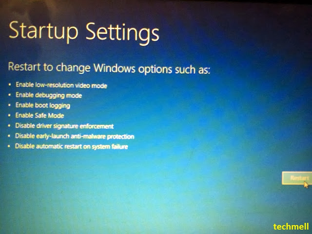 Startup Settings Menu in Win 8.1