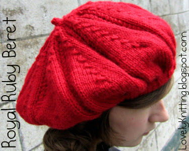 Knitted Royal Ruby Beret
