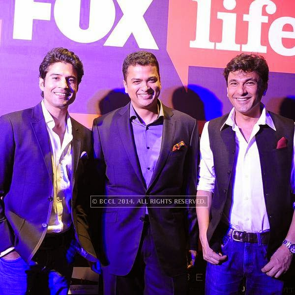 Rajeev Khandelwal and Vikas Khanna during the launch of FOX Traveller's new television channel FOX Life, in Mumbai, on July 16, 2014.