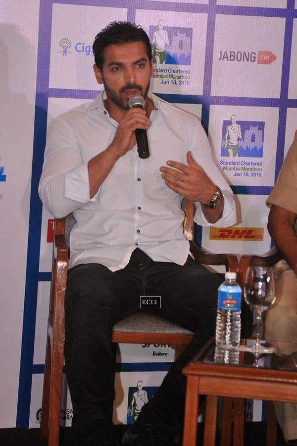 John Abraham during the Standard Chartered Mumbai Marathon press meet - 2015, in Mumbai, on July 22, 2014. (Pic: Viral Bhayani)