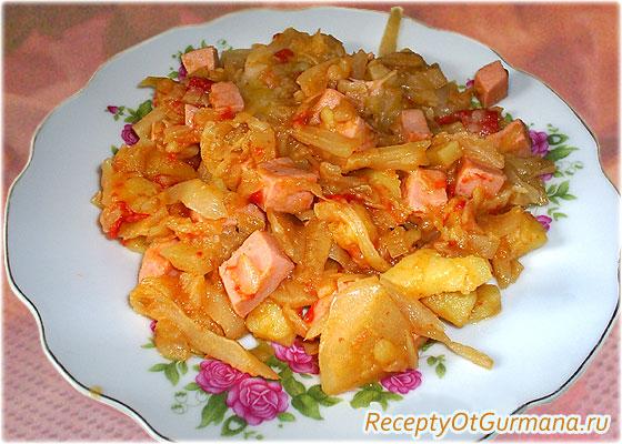 рецепт: Овощное рагу с колбасой (фото)