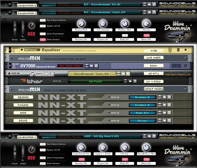 WaveDrummin Reason Combinator interface image