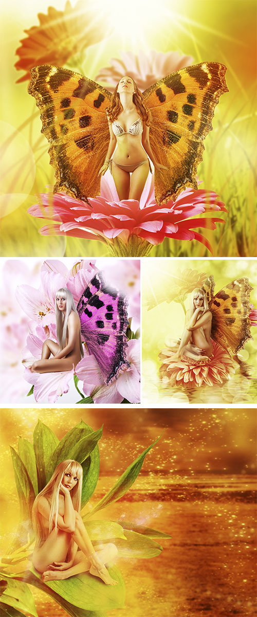 Stock Photo: Fairy with wings on a flower