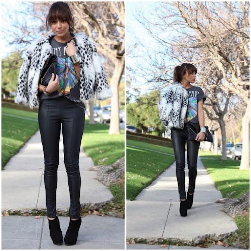 Ashley Madekwe blogger leather pants fur style fashion