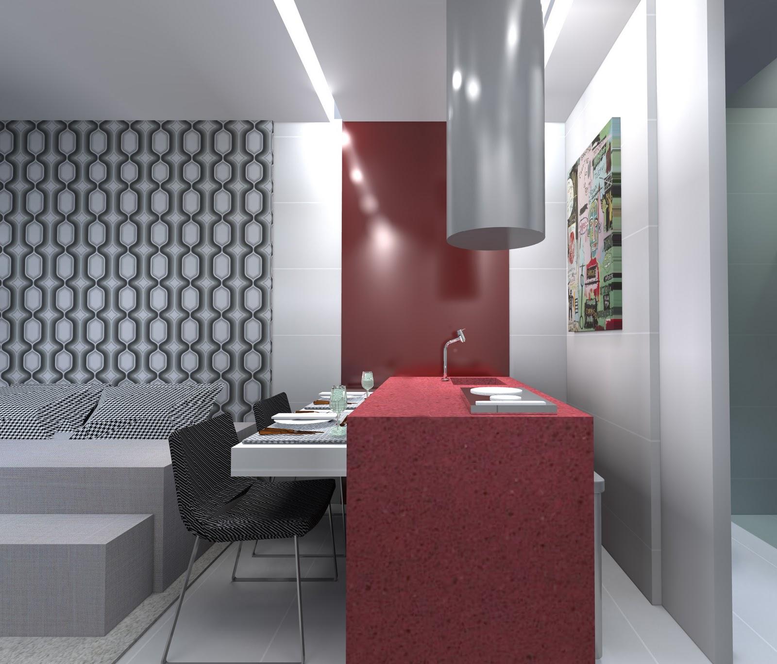 Embutidos na bancada frigobar e microondas completam a bancada de  #8C3F45 1600x1368 Bancada Banheiro Silestone Vermelho