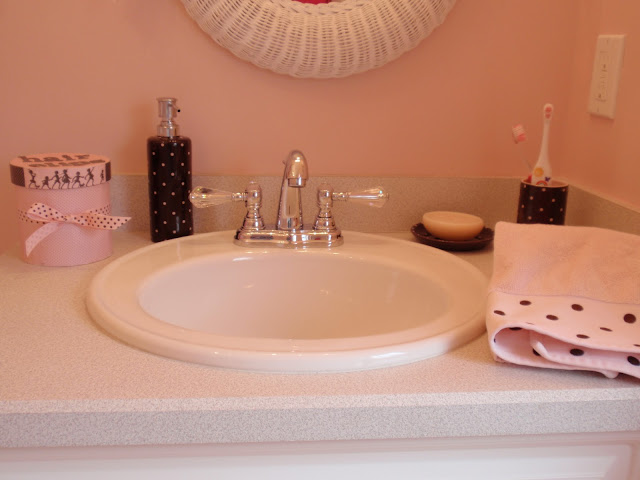Diy by design decoupaged container for Pink brown bathroom ideas