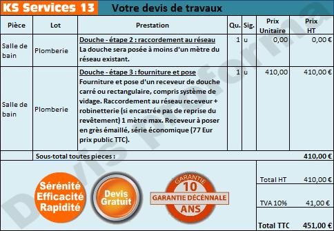 Ks services 13 prix pose receveur de douche poser - Prix pose receveur douche ...