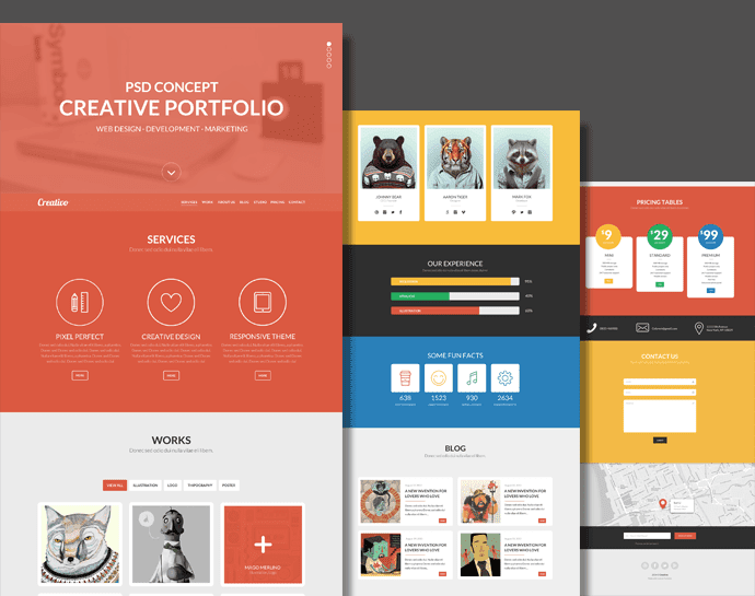 Creativo - Free One page PSD template