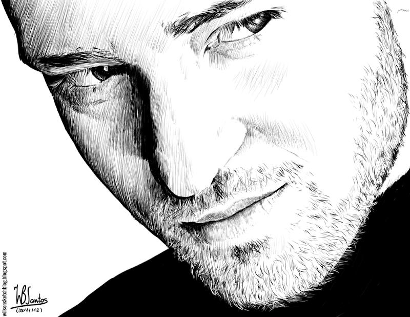 Ink drawing of Justin Timberlake, using Krita 2.4.