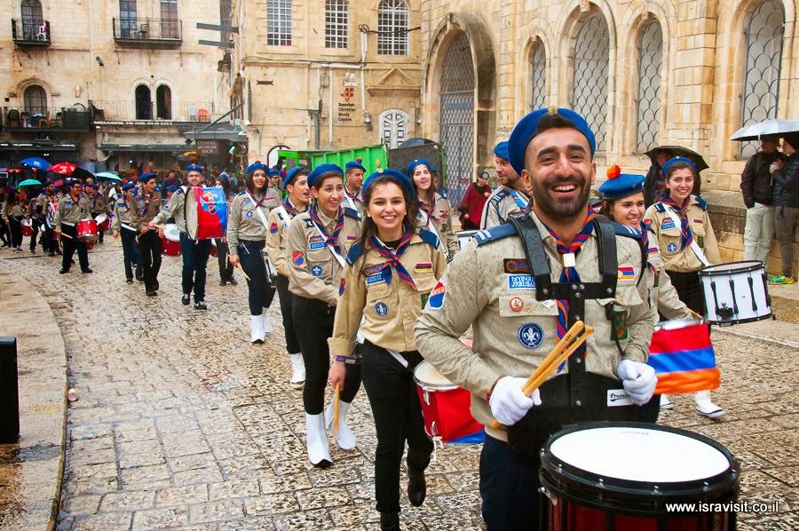 Парад армянских скаутов в Иерусалиме. Экскурсия в Иерусалиме.