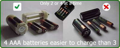 4 AAA batteries easier to charge than 3, and last longer