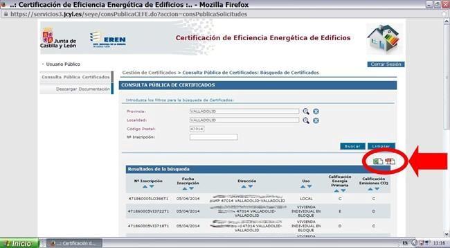 buscar certificado energetico en junta castilla y leon y registro ceren 6
