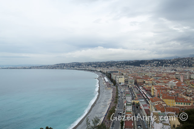 Nice'teki Le Chateau'dan Promenda des Anglais ve Cote d'Azur sahili