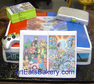 Ultimate gamer unique fondant Groom's cake with silver XBOX, controller, Halo games, Red VS Blue and comic book