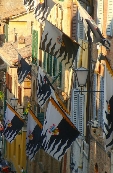 La Lupa's black and white flags adorning the roads of the contrada during Palio