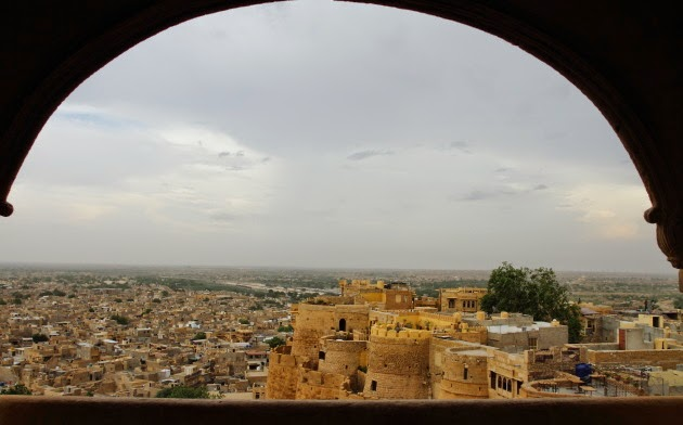 The city view that the queen used to see from the palace in Jaisalmer Fort