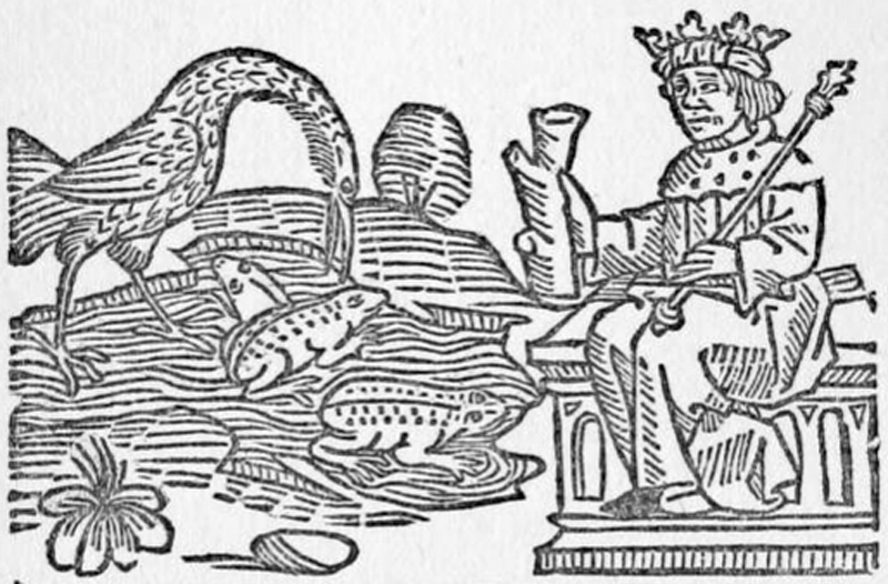 Jupiter, the heron, and his subjects, according to Caxton.