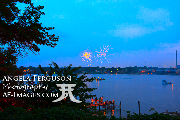 Fireworks Over Chesapeake Bay, Photograph, Pasadena, Maryland (Copyright Angela Ferguson Photography)