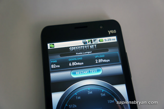Random Yes 4G speed test on Yes Eclipse