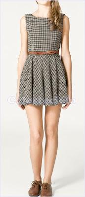 Vestido corto de lana a cuadros