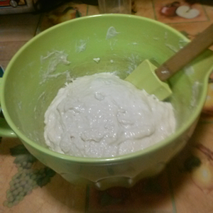 deflated dough after stirring for a minute