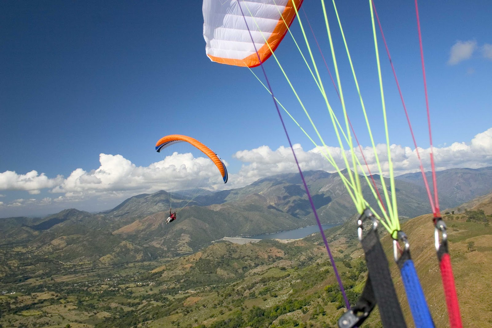 paragliding The sport of gliding with a paraglider the use of a paraglider in other settings, such as surveillance or military applications present participle of paraglide.