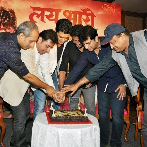 Lai Bhaari crew cut the cake during the success meet, held at Orchid, on July 14, 2014.(Pic: Viral Bhayani)