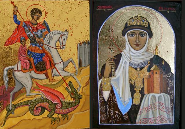 Св. Георги, Св. Олга / темпера на дърво