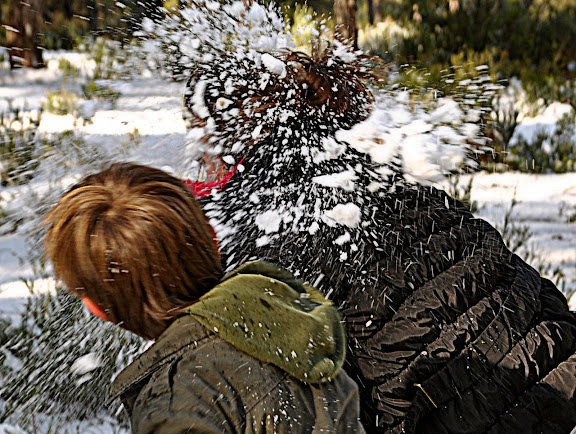 images of the alps in ibiza children and older people making snow wars as genuine as any winter season yes the white lady did not stayed much time in