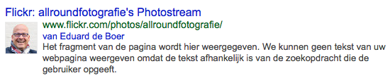 Google Authorship op Flickr