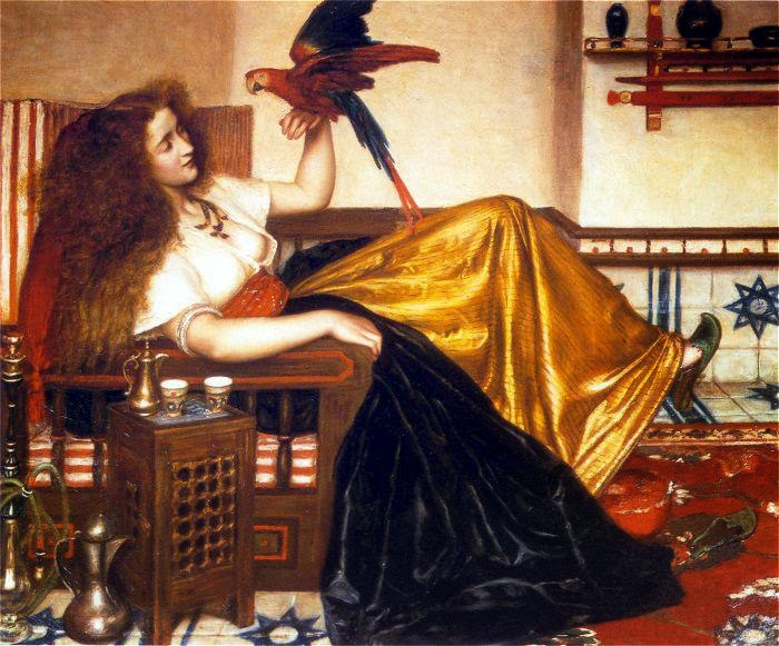 Valentine Cameron Prinsep - Reclining Woman with a Parrot.