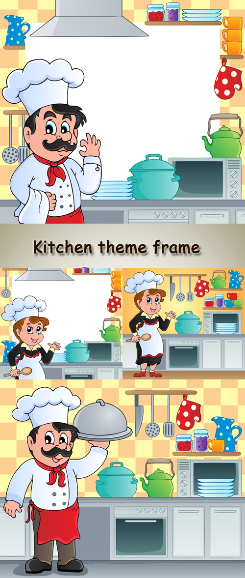 Stock: Kitchen theme frame