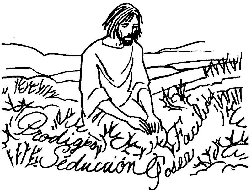 Tentaciones de Jesús para colorear