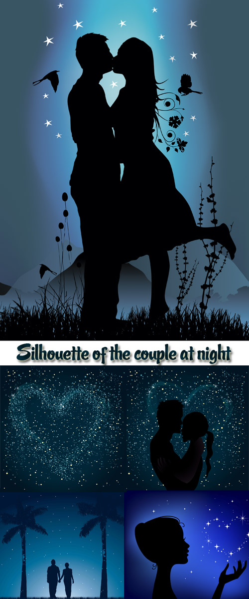 Stock: Silhouette of the couple at night
