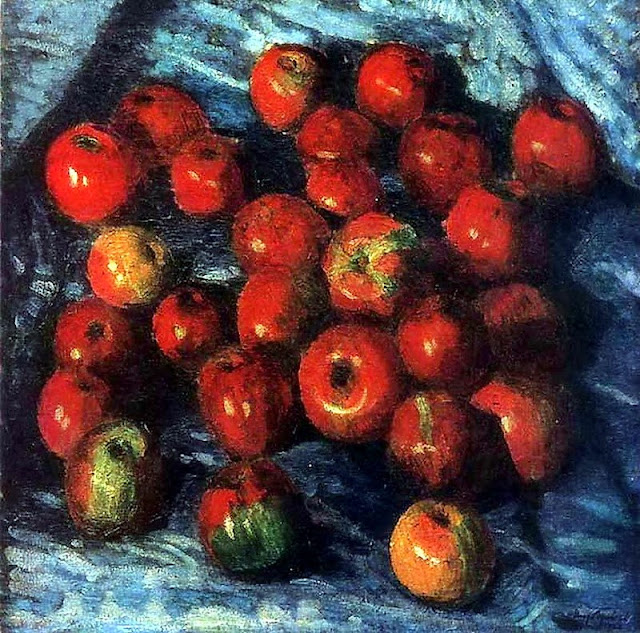 Igor Grabar - Red Apples on Blue Tablecloth, 1920