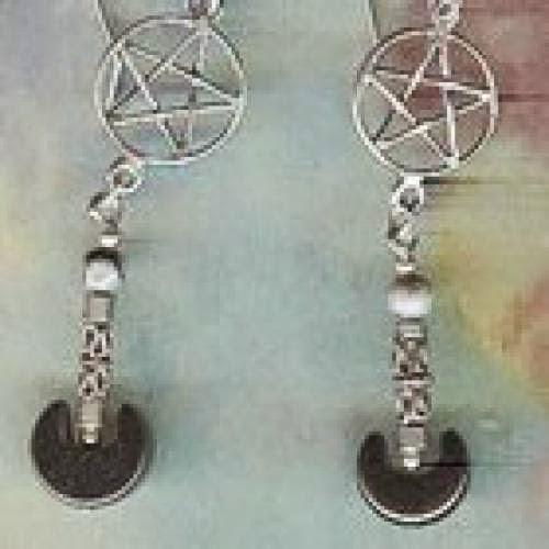 Wiccan Warrior Pentacle Earrings Sterling Silver Fr Ship