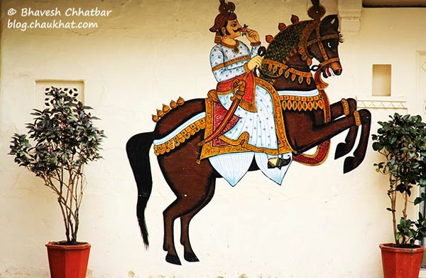 Wall painting of a galloping horse