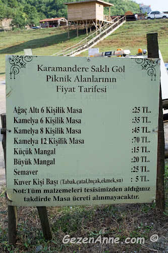 Karamandere Saklı Göl piknik alanının fiyat tarifesi, masa, semaver, kuver ve mangal ücretleri, Şile