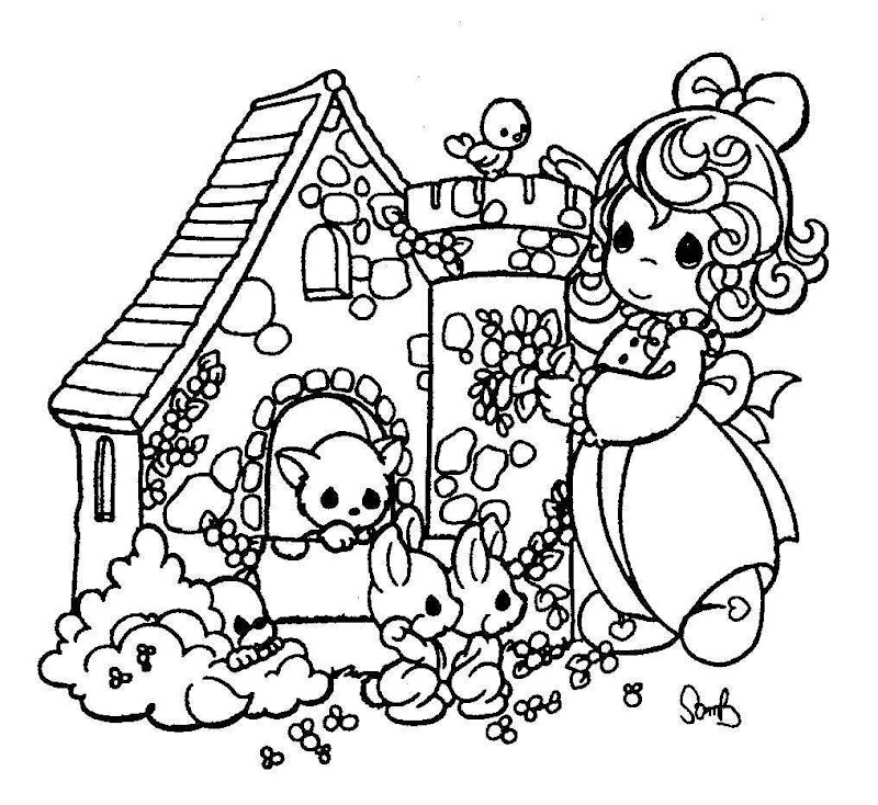 Girl and her doll house free precious moments for Precious moments giraffe coloring pages
