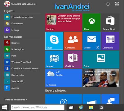Windows 10 - January Technical Preview - Menú Inicio