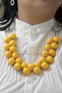 sarı boncuklu kolye yapımı