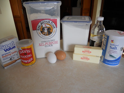 The ingredients for sugar cookies with buttercream frosting.
